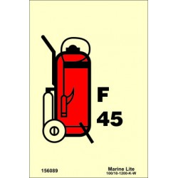 WHEELED FOAM FIRE EXTINGUISHER 45LT  (15x15cm) Phot.Vin. IMO sign 156089