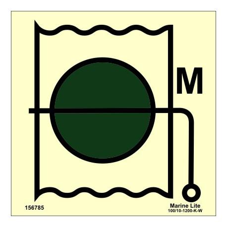 Señal IMO VÁLVULA CORTAFUEGOS PARA ZONA DE MAQUINARIA (15x15cm) vinilo fotoluminiscente 156785