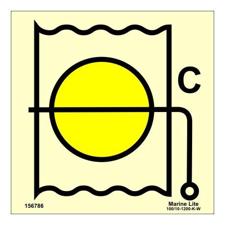 Señal IMO VÁLVULA CORTAFUEGOS PARA ZONA DE CARGA (15x15cm) vinilo fotoluminiscente 156786