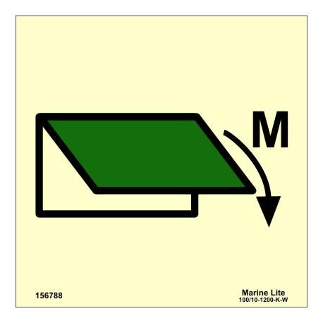Señal IMO DISPOSITIVO DE CIERRE DE VENTILACIÓN PARA ZONA DE MAQUINARIA (15x15cm) vinilo fotoluminiscente 156788