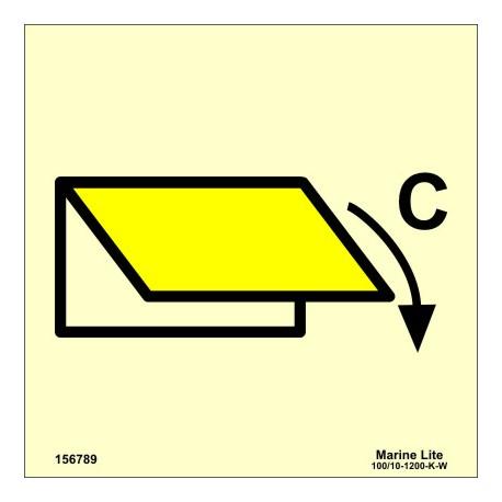 Señal IMO DISPOSITIVO DE CIERRE DE VENTILACIÓN PARA ZONA DE CARGA (15x15cm) vinilo fotoluminiscente 156789 / SIS018
