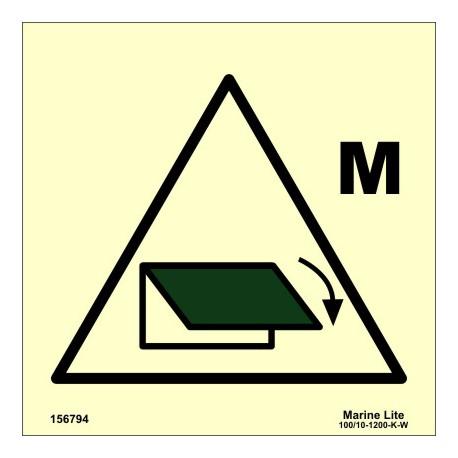 Señal IMO CONTROL REMOTO DE DISPOSITIVO DEL CIERRE DE VENTILAC. PARA ZONA MAQUINARIA (15x15cm) vinilo fotolum. 156794 / SIS020