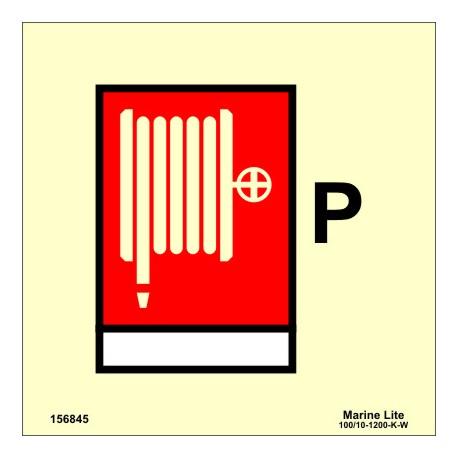 Señal IMO MANGUERA CONTRA INCENDIOS DE POLVO (15x15cm) vinilo fotoluminiscente 156845