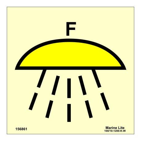 Señal IMO ESPACIO PROTEGIDO POR SISTEMA DE EXTINCIÓN DE INCENDIOS DE ESPUMA (15x15cm) vinilo fotoluminiscente 156861