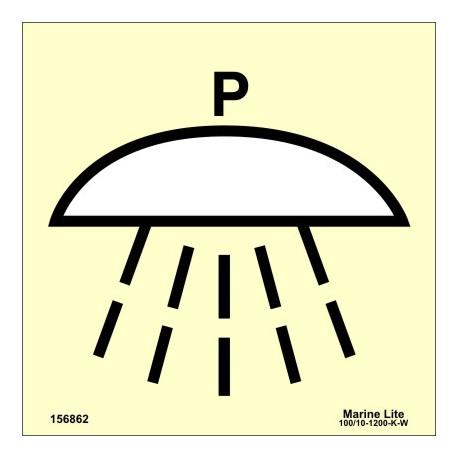 Señal IMO ESPACIO PROTEGIDO POR SISTEMA DE EXTINCIÓN DE INCENDIOS DE POLVO (15x15cm) vinilo fotoluminiscente 156862 / SIS045