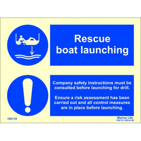 RESCUE BOAT LAUNCHING  (15x20cm) Phot.Vin. IMO sign 195110