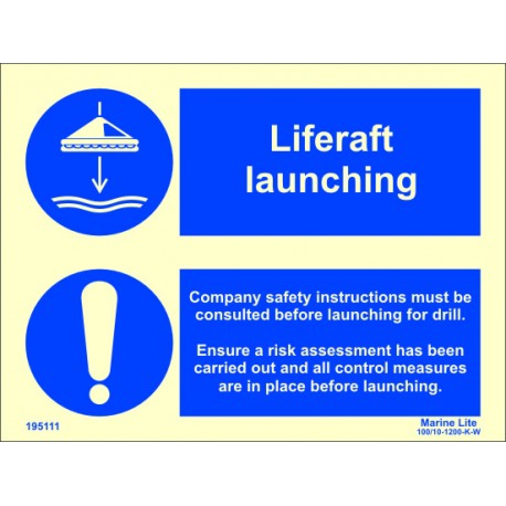LIFERAFT LAUNCHING  (15x20cm) Phot.Vin. IMO sign 195111