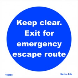 EXIT - EMERGENCY ESCAPE  (15x15cm) Phot.Vin. IMO sign 195800