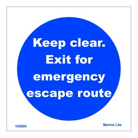 EXIT - EMERGENCY ESCAPE  (15x15cm) Phot.Vin. IMO sign 195800