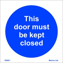 DOOR MUST BE CLOSED  (15x15cm) Phot.Vin. IMO sign 195801