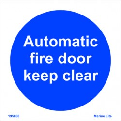 AUTOMATIC FIRE DOOR KEEP CLEAR  (15x15cm) Phot.Vin. IMO sign 195808