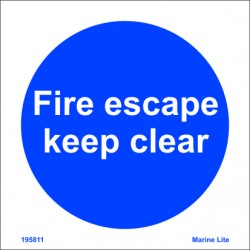 FIRE ESCAPE KEEP CLEAR  (15x15cm) Phot.Vin. IMO sign 195811