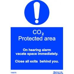 Señal IMO ÁREA PROTEGIDA POR CO2 (20x15cm) vinilo fotoluminiscente 195876