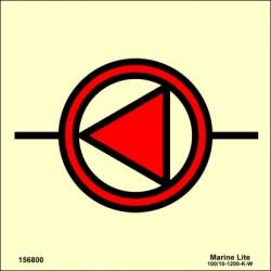 Señal IMO BOMBA CONTRA INCENDIOS DE EMERGENCIA (15x15cm) vinilo fotoluminiscente 156800/6019 / SIS025