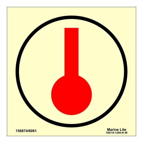 SPACE MONITORED BY HEAT DETECTORS  (15x15cm) Phot.Vin. IMO sign 156874/6061