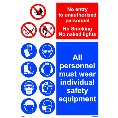 NO ENTRY/ALL PERSONNEL  (45x32cm) White Vin. IMO sign 17-0054WV