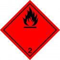 CLASS 2.1 FLAMMABLE GAS  (25x25cm) White Vin. IMO sign 172207(40)MAC