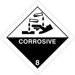 CLASS 8 CORROSIVE SUBSTANCES  (25x25cm) White Vin. IMO sign 172220(40)MAC