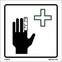 FIRST AID  (15x15cm) White Vin. IMO sign 172413WV