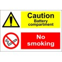 CAUTION BATTERY COMPARTMENT/NO SMOKING  (20x30cm) White Vin. IMO sign 173013WV