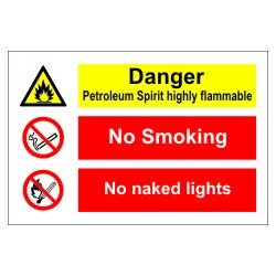 PETROLEUM SPIRIT/NO SMOKING/NO NAKED  (20x30cm) White Vin. IMO sign 173105WV