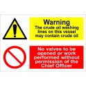 WARNING THE CRUDE OIL WASHING LINES NO V  (20x30cm) White Vin. IMO sign 173106WV