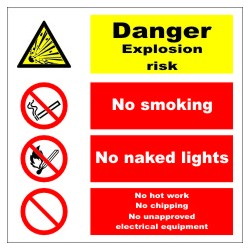 DANGER EXPLOSION RISK Póster  (30x30cm) White Vin. IMO sign 173108WV