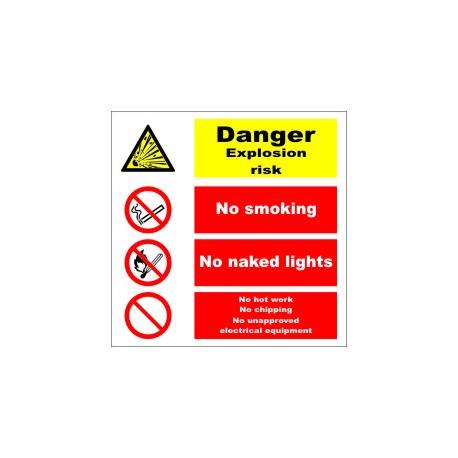 DANGER EXPLOSION RISK Póster  (30x30cm) White Vin. IMO sign 173108WV