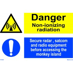 DANGER NON-IONIZING RADIATION  (20x30cm) White Vin. IMO sign 173109WV