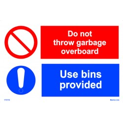 DON'T THROW GARBAGE  (20x30cm) White Vin. IMO sign 173115WV