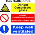 GAS BOTTLE STORE  (30x30cm) White Vin. IMO sign 173125WV