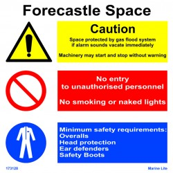 FORECASTLE SPACE CAUTION  (30x30cm) White Vin. IMO sign 173128WV