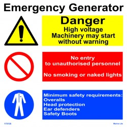 EMERGENCY GENERATOR  (30x30cm) White Vin. IMO sign 173135WV