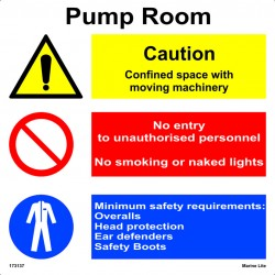 PUMP ROOM  (30x30cm) White Vin. IMO sign 173137WV