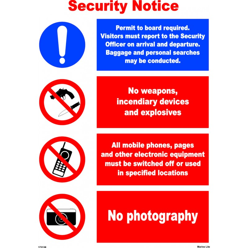 P 243 Ster Security Notice 45x32cm White Vin Imo Sign