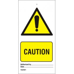 CAUTION  (7,5x15cm) White Vin. IMO sign 182501-SET
