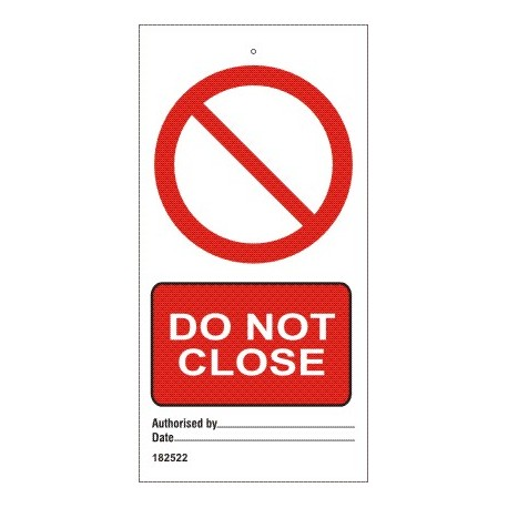 DO NOT CLOSE  (7,5x15cm) White Vin. IMO sign 182522-SET