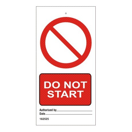 DO NOT START  (7,5x15cm) White Vin. IMO sign 182525-SET