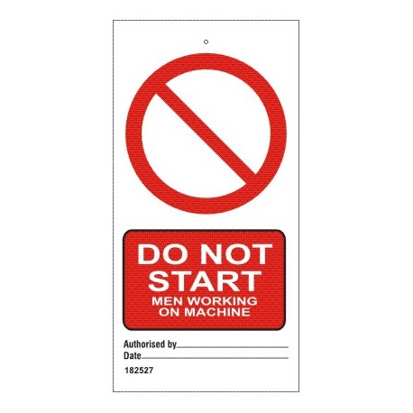 DO NOT START MEN WORKING ON MACHINE  (7,5x15cm) White Vin. IMO sign 182527-SET