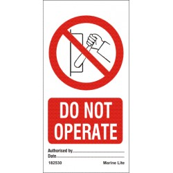 DO NOT OPERATE  (7,5x15cm) Set 10 ud. IMO sign 182530-SET