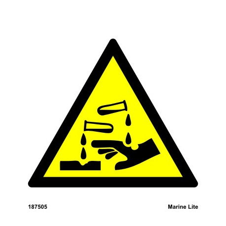 CAUTION ACID  (15x15cm) White Vin. IMO sign 187505WV