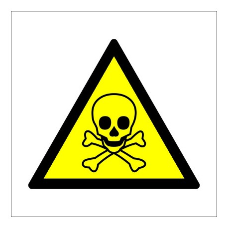 CAUTION TOXIC HAZARD/ POISON  (15x15cm) White Vin. IMO sign 187506WV / WSS016