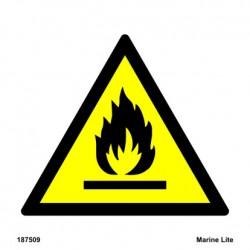 DANGER FIRE RISK FLAMMABLE MATERIALS  (15x15cm) White Vin. IMO sign 187509WV / WSS021