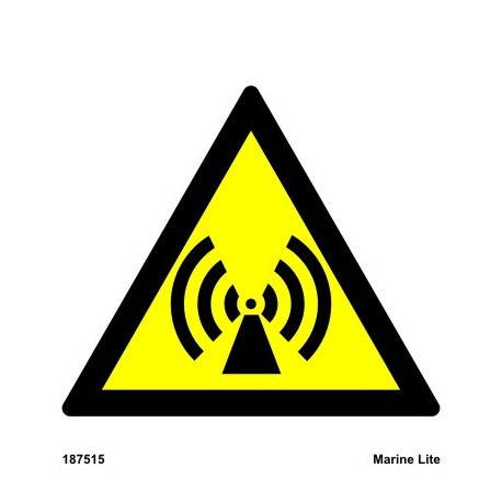 CAUTION NON-IONIZING RADIATION  (15x15cm) White Vin. IMO sign 187515WV