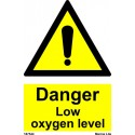 DANGER LOW OXYGEN LEVEL  (20x15cm) White Vin. IMO sign 187544WV