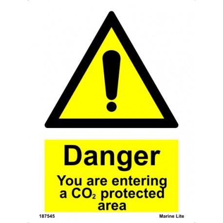 CAUTION,YOU ARE ENTER. CO2 PROTECTIVE AR  (20x15cm) White Vin. IMO sign 187545WV