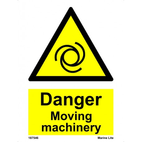 DANGER MOVING MACHINERY  (20x15cm) White Vin. IMO sign 187546WV