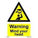 WARNING MIND YOUR HEAD  (20x15cm) White Vin. IMO sign 187570WV