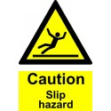 CAUTION SLIP HAZARD  (20x15cm) White Vin. IMO sign 187572WV