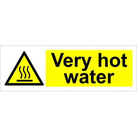 VERY HOT WATER  (10x30cm) White Vin. IMO sign 187577WV